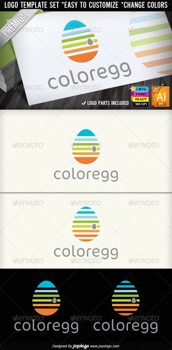 Color Egg Preschool Kindergarten Logo Designs - Objects Logo Templates