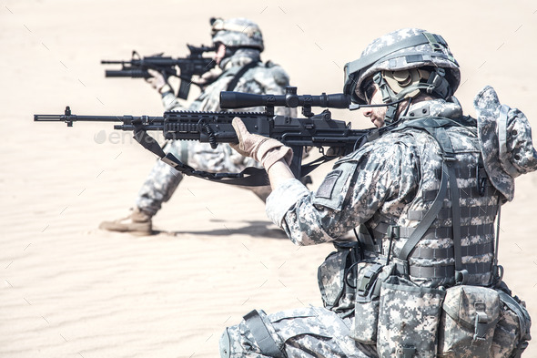 infantrymen in action - Stock Photo - Images