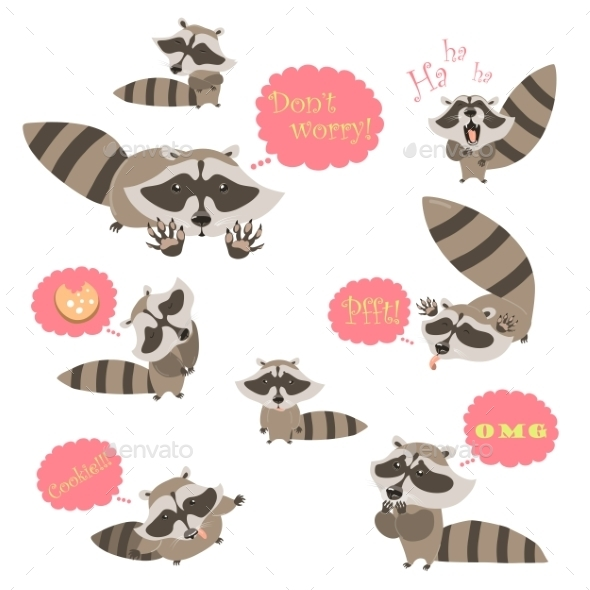 Collection Of Funny Raccoons - Animals Characters