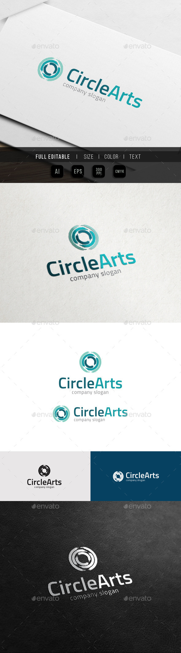 Paint Brush Circle - Open Art Galery - Abstract Logo Templates