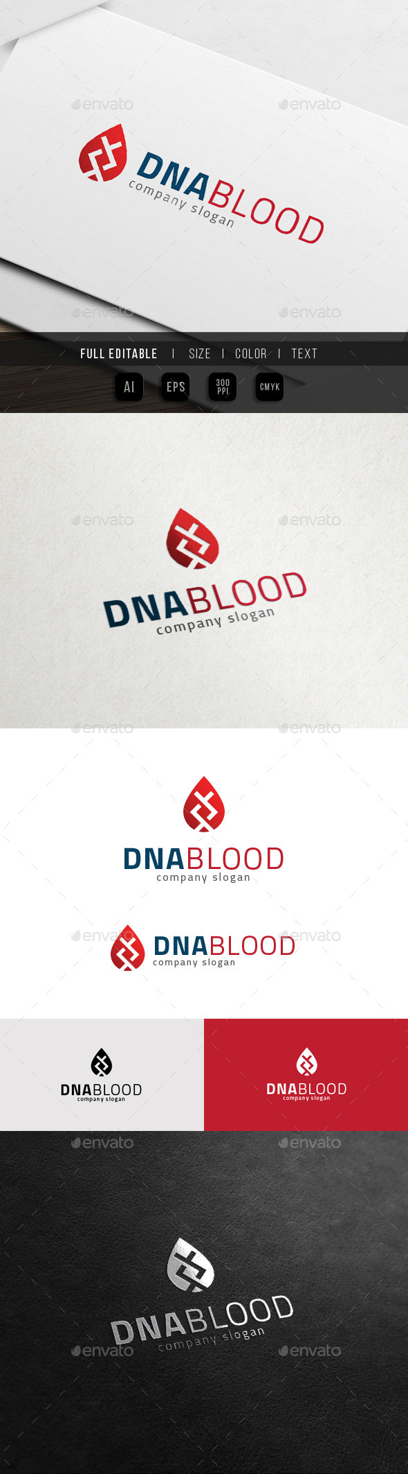 DNA Blood - Bio DNA Lab Logo - Symbols Logo Templates