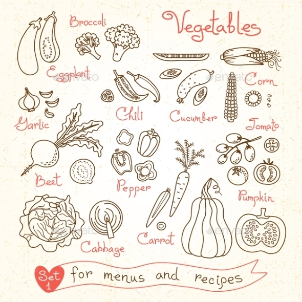 Set Drawings Of Vegetables For Design Menus - Food Objects