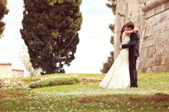 Bride and groom holding hands - Stock Photo - Images