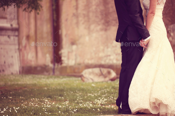 Close up of a bride and groom holding hands - Stock Photo - Images