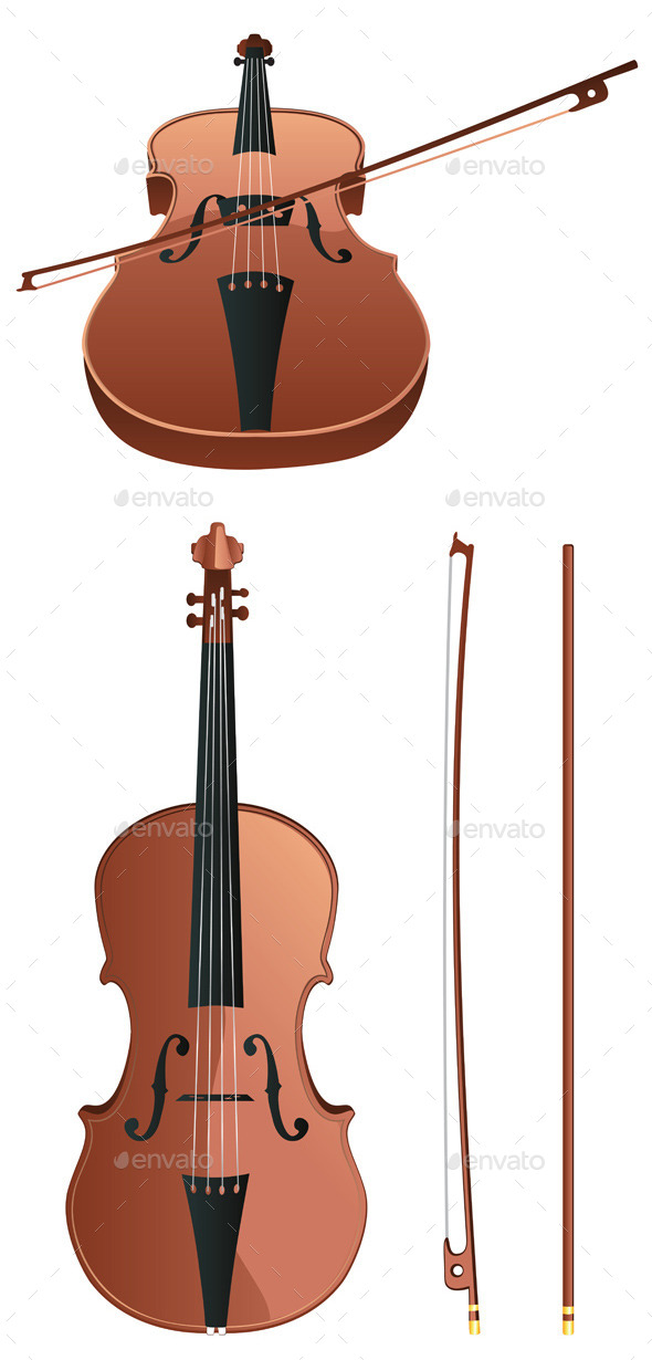 Violin with Bow - Miscellaneous Vectors