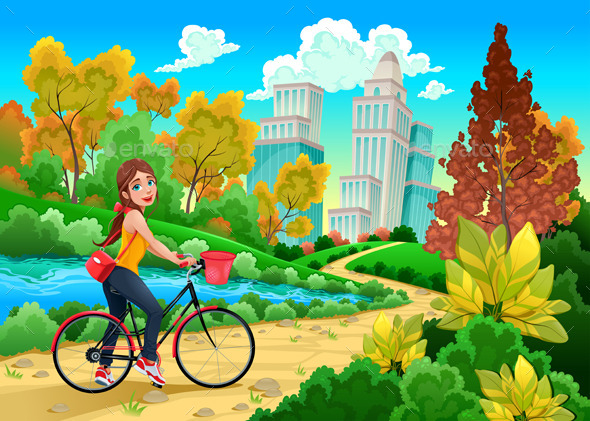 Lady on a Bike in a Urban Park - Sports/Activity Conceptual