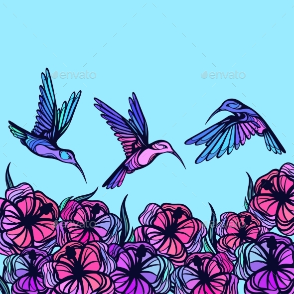 Flying Tropical Stylized Hummingbirds With Flowers - Flowers & Plants Nature