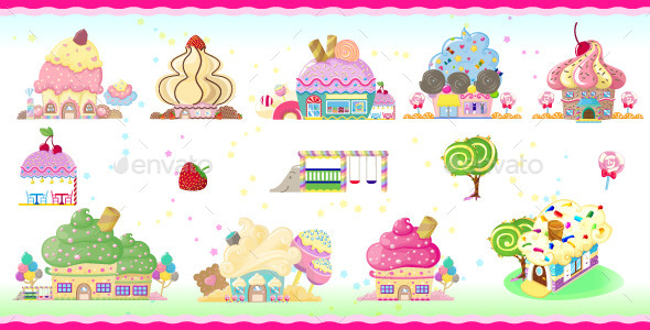 Cupcake houses  - Buildings Objects