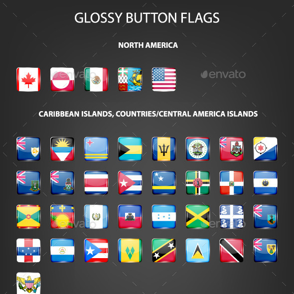 Set Of Glossy Button Flags - Web Elements Vectors
