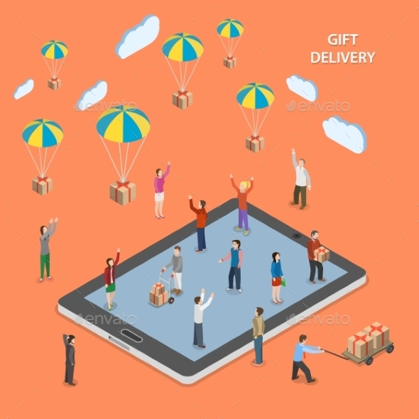 Gift Delivery Flat Isometric Vector Illustration.  - Retail Commercial / Shopping