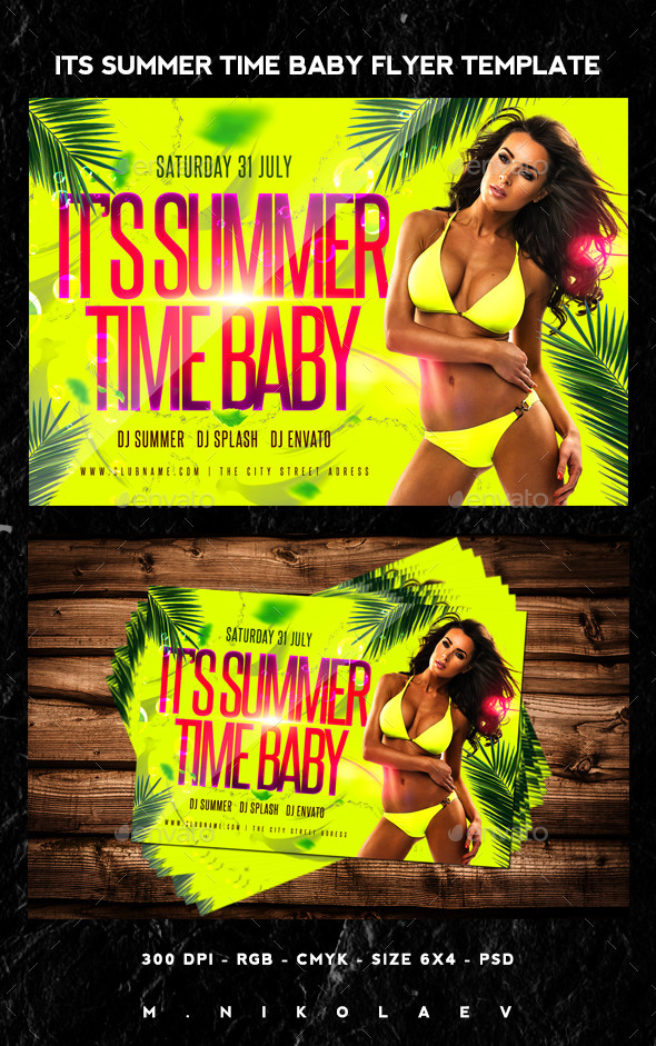 Its Summer Time Baby Flyer - Clubs & Parties Events