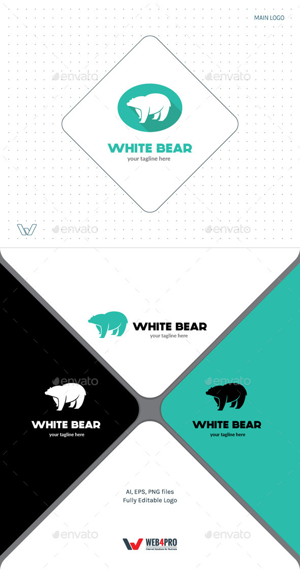 White Bear Logo - Animals Logo Templates