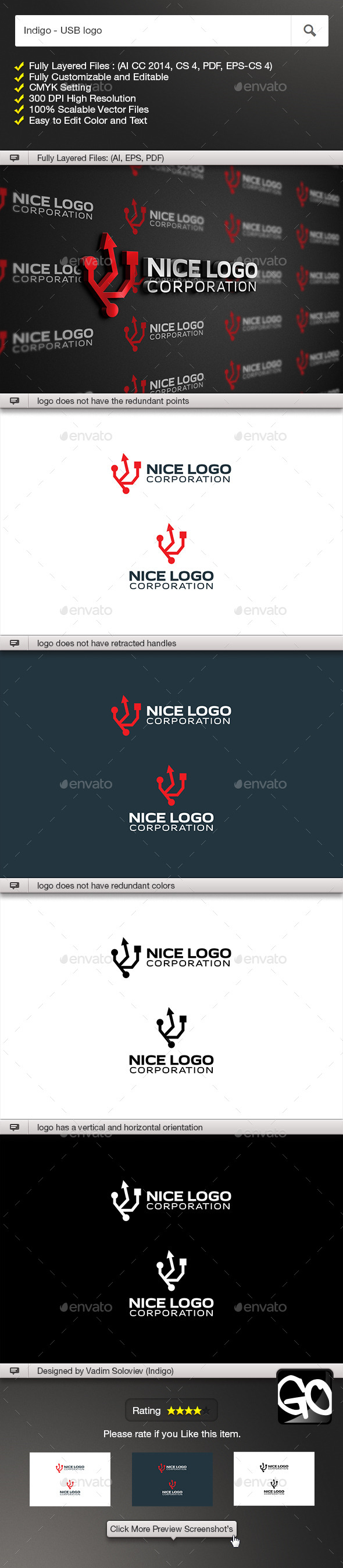 Indigo - USB logo - Symbols Logo Templates