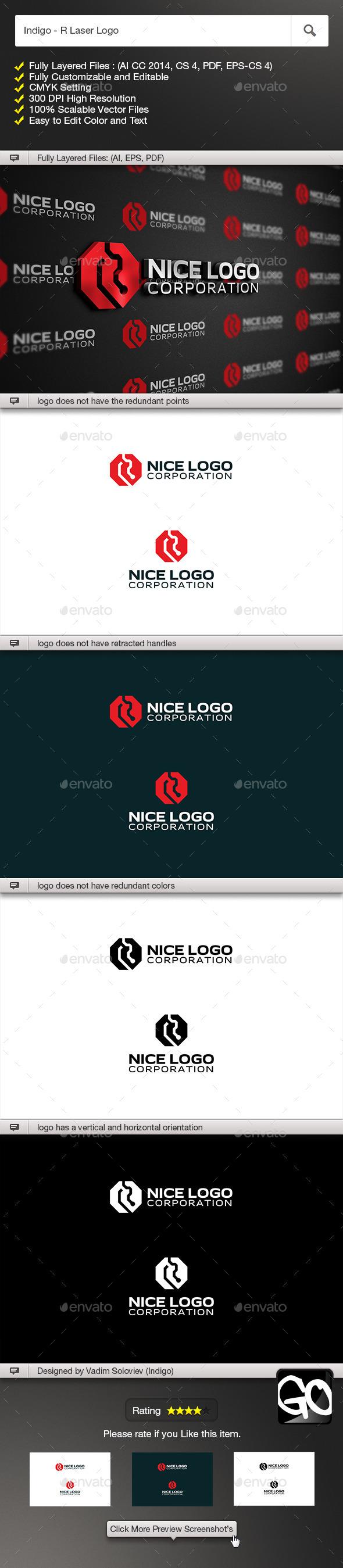 Indigo - R Laser Logo - Letters Logo Templates