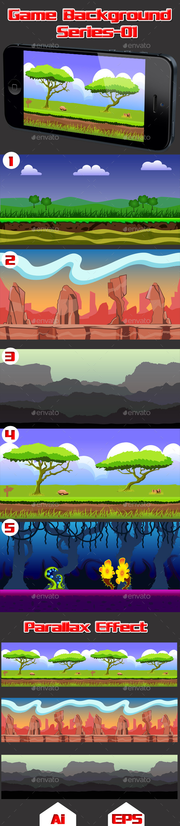 Game Background Series-01 - Backgrounds Game Assets