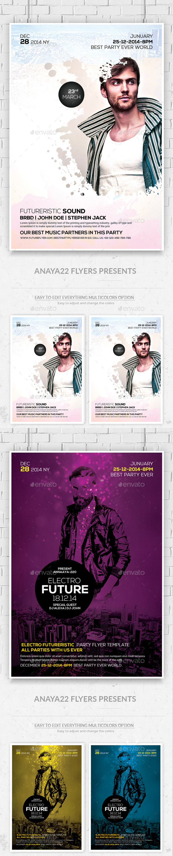 Electro Concert Dj Flyers Bundle - Clubs & Parties Events