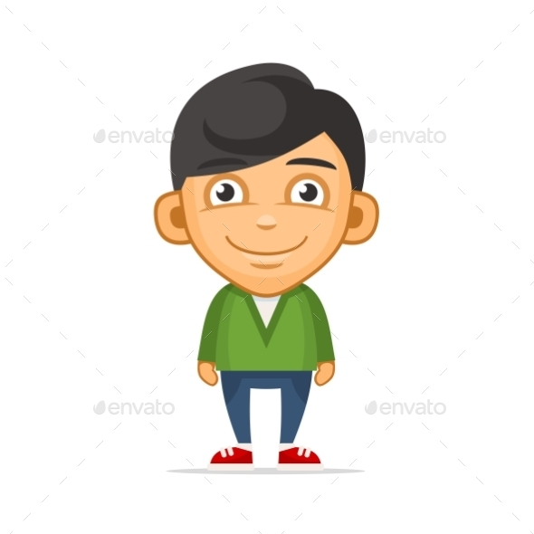 Smiling Boy Wearing Green Sweater - People Characters