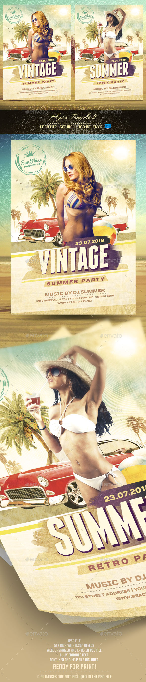Vintage Summer Flyer Template - Clubs & Parties Events