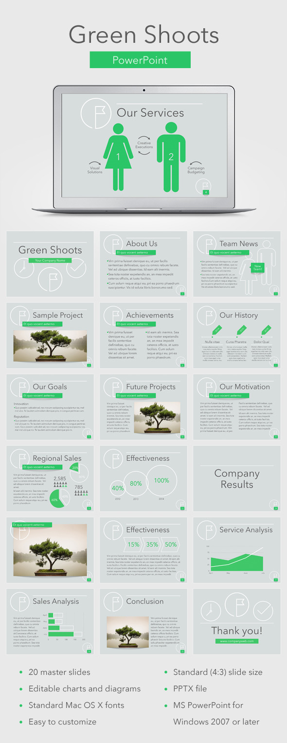 Green Shoots PowerPoint Template - Business PowerPoint Templates