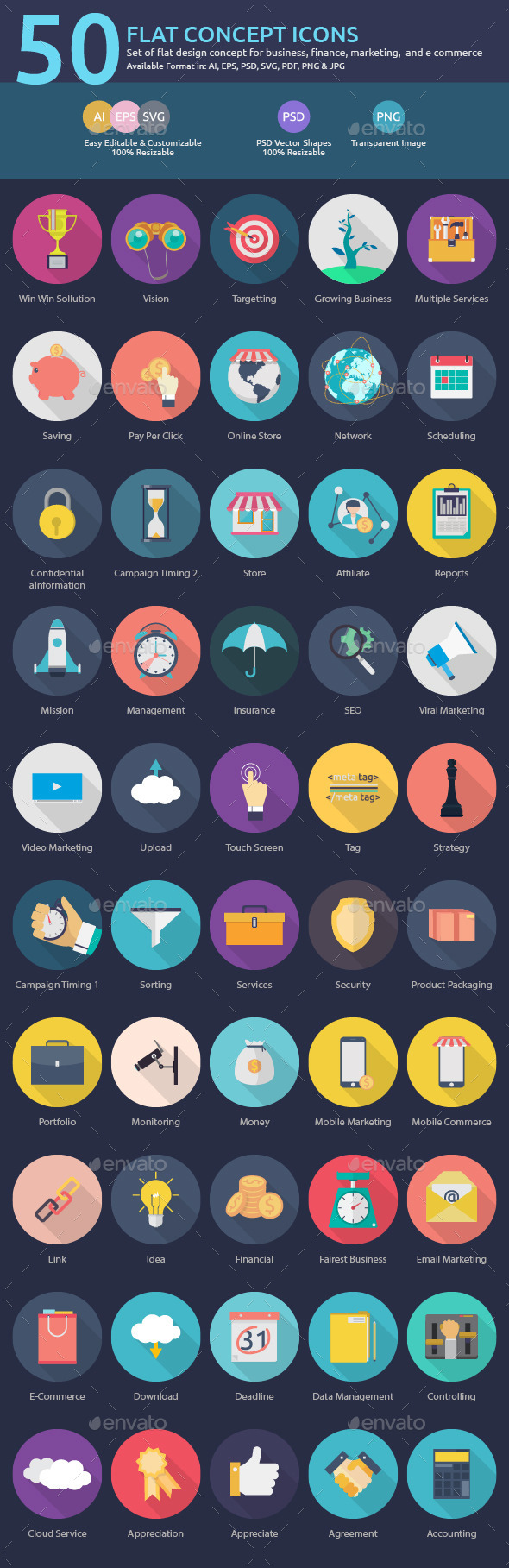 50 Flat Concept Icons - Business Icons