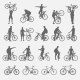 Silhouettes of Cyclists and Bicycles - GraphicRiver Item for Sale