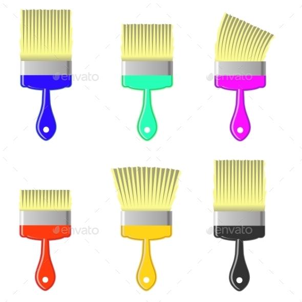 Set Of Colorful Paintbrushes  - Decorative Symbols Decorative