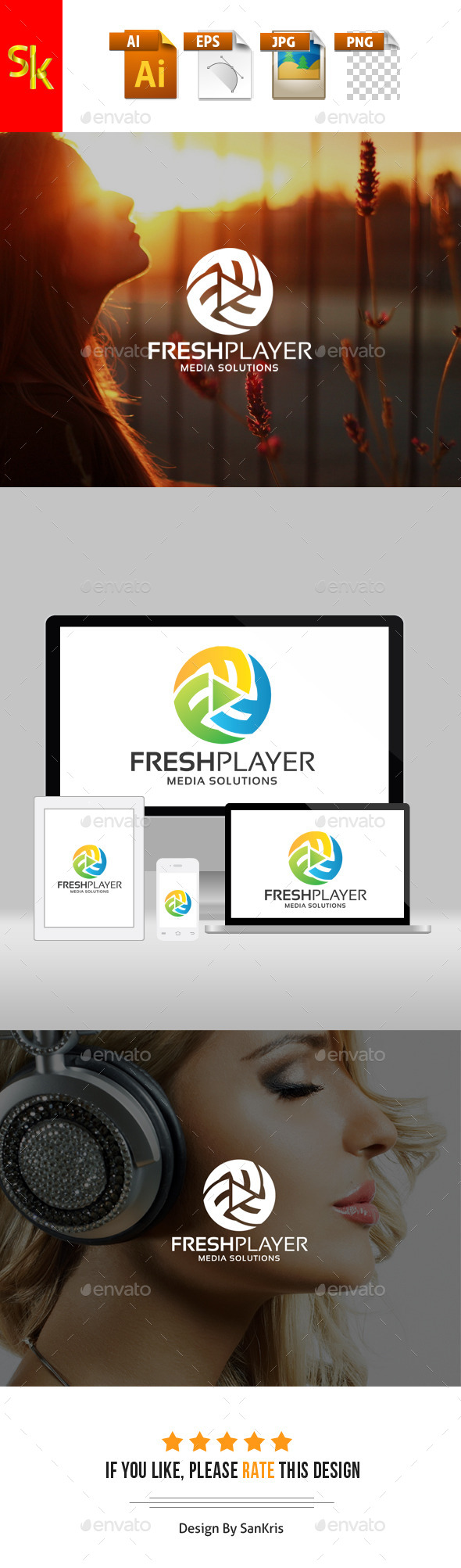 Fresh Media Player - Letters Logo Templates