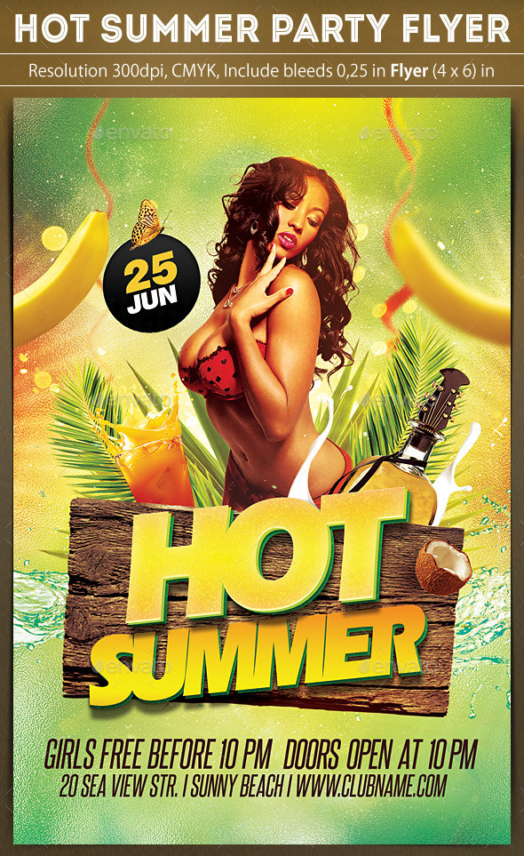 Hot Summer Party Flyer - Clubs & Parties Events