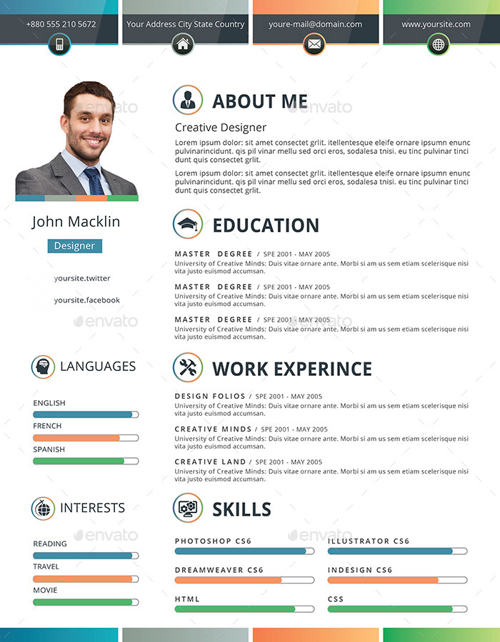stylish resume  cv by themexriver
