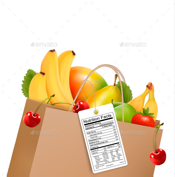 Shopping Bag With Healthy Fruit And A Nutrient - Food Objects