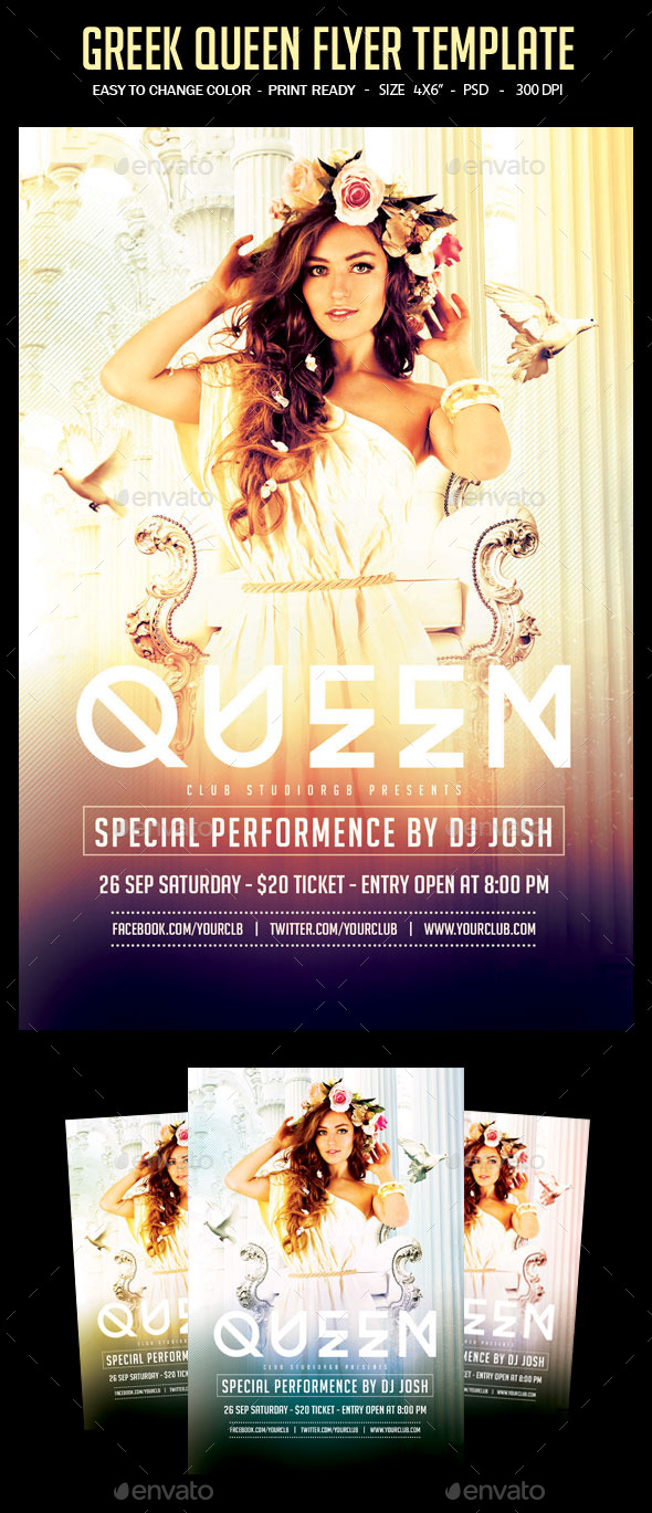 Greek Queen Flyer Template - Clubs & Parties Events