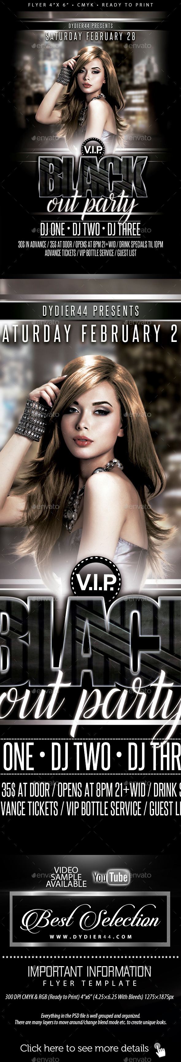 VIP Blackout Party (Flyer Template 4x6) - Clubs & Parties Events