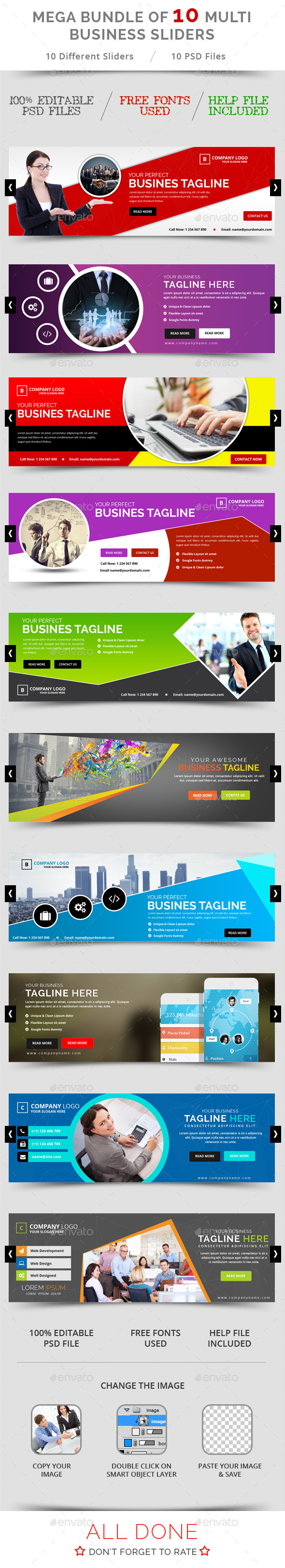 Bundle of 10 Business Sliders - Sliders & Features Web Elements