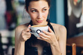 Pretty woman drinking coffee - PhotoDune Item for Sale