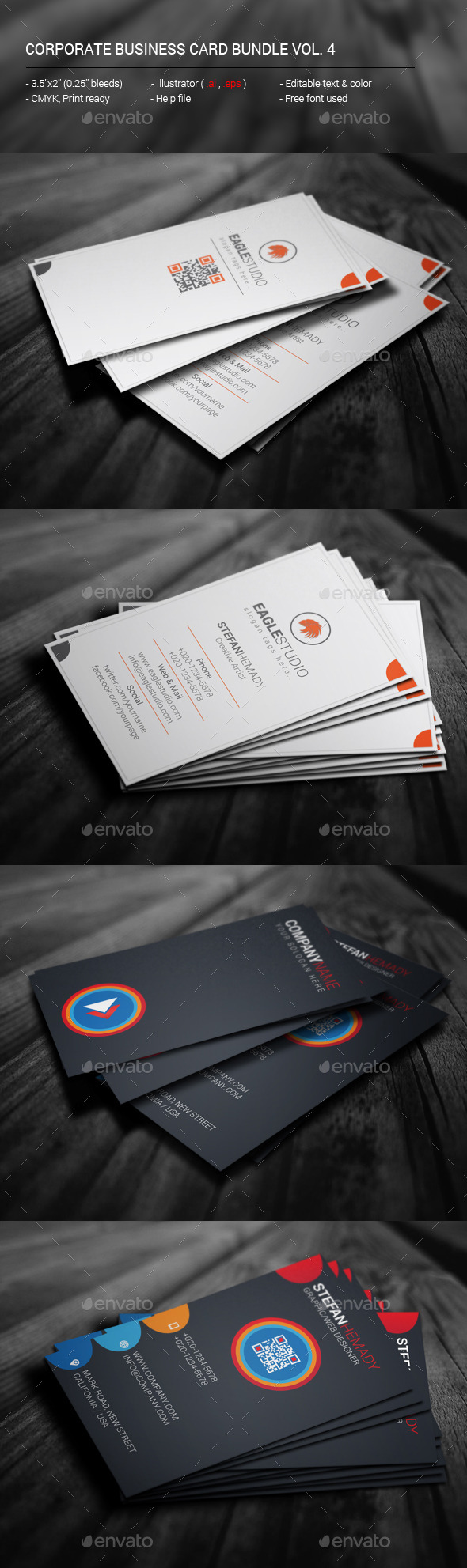 Corporate Business Card Bundle Vol. 4 - Corporate Business Cards