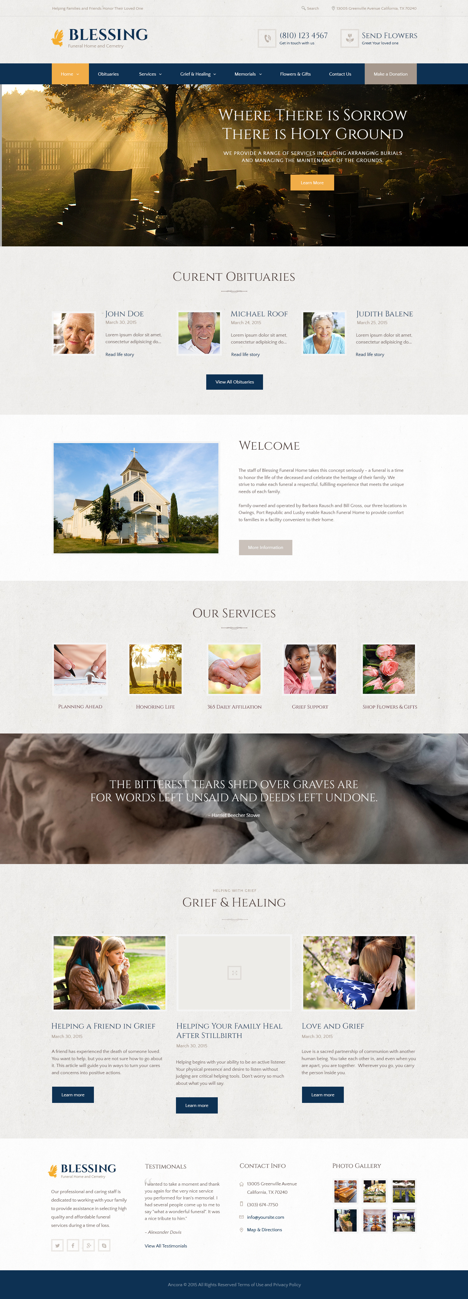 blessing | funeral home wordpress themeancorathemes | themeforest