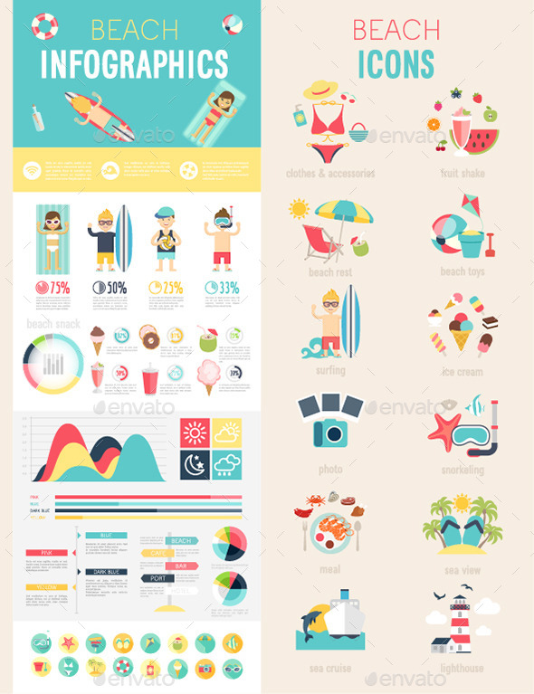 Beach Infographic Set with Charts and Icons. - Travel Conceptual