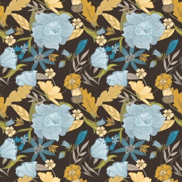 Vintage Fall Vector Pattern - Flowers & Plants Nature