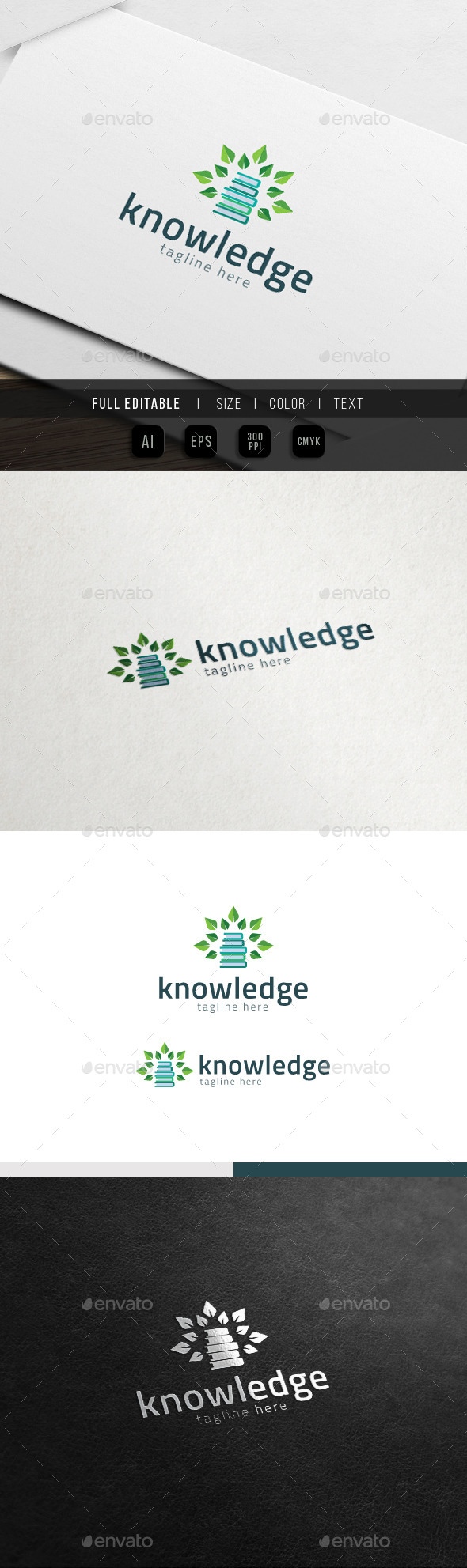 Tree of Knowledge - Eco Book Logo - Nature Logo Templates