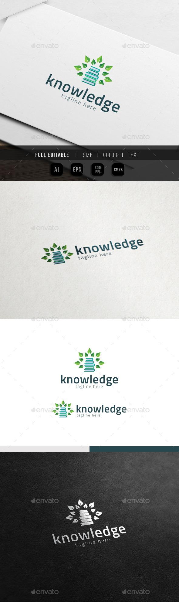 Tree of Knowledge - Eco Book Logo - Nature Logo Templates