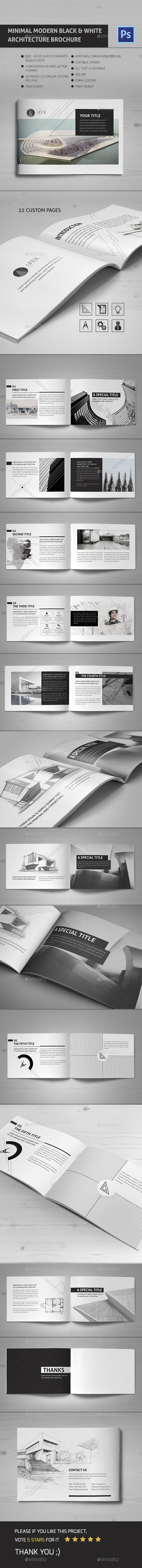 Minimal Modern Black & White Architecture Brochure - Brochures Print Templates