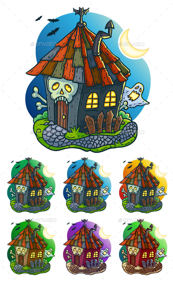 Haunted House Cartoon Illustration - Halloween Seasons/Holidays