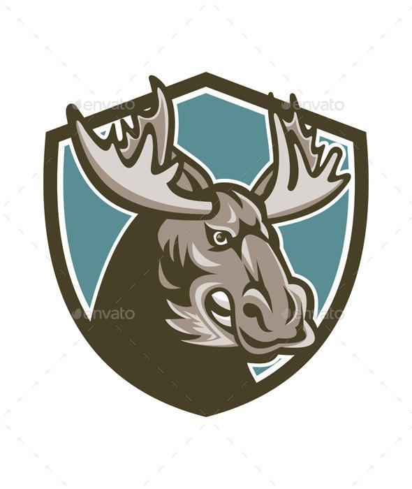 Angry Moose Mascot Shield - Animals Characters