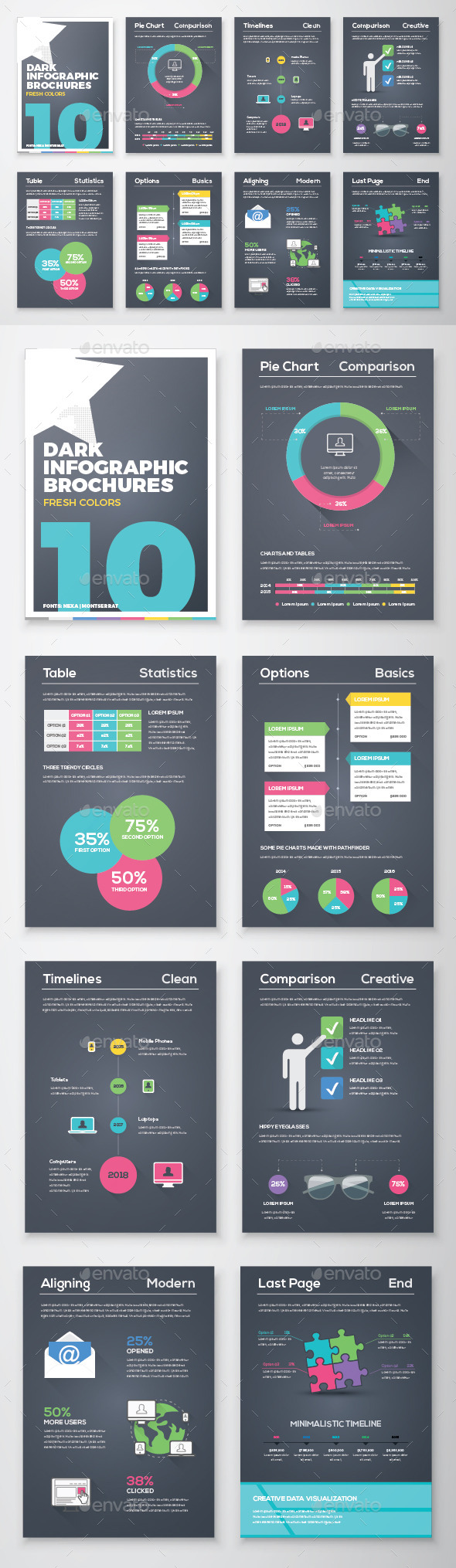 Infographic Brochure Vector Elements Kit 10 - Infographics