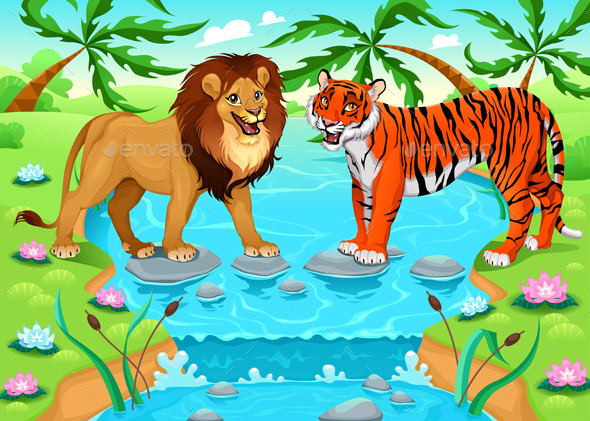 Lion and Tiger Together in the Jungle - Animals Characters