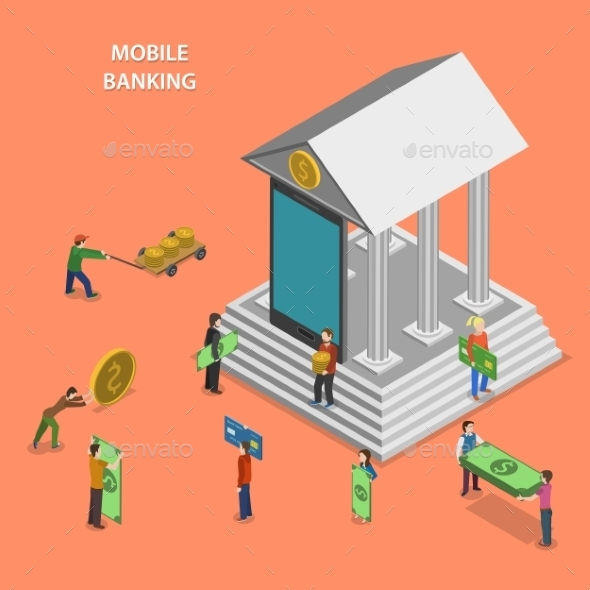 Mobile Banking Flat Isometric Concept - Industries Business