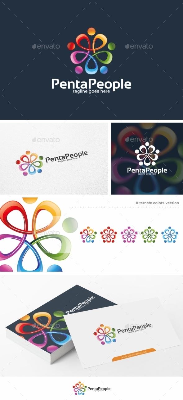 Penta People - Logo Template - Humans Logo Templates