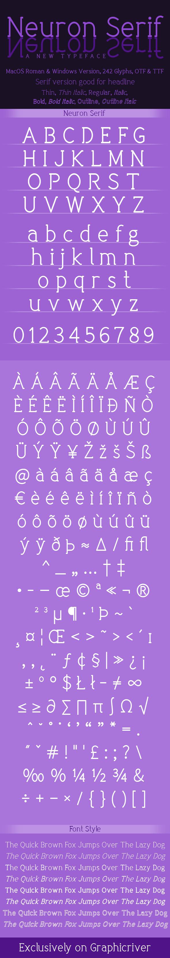 Neuron Serif Family - Serif Fonts