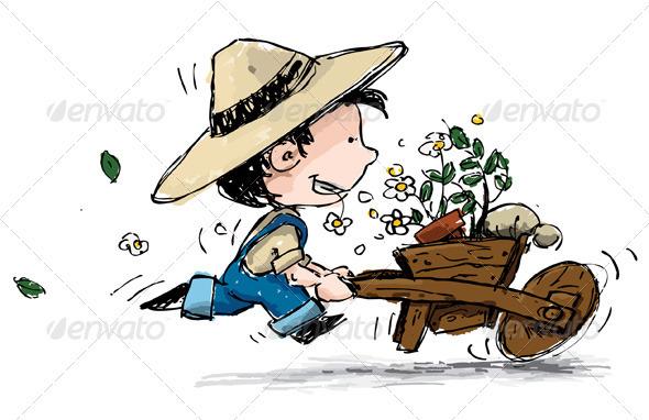 Smiling Boy Gardener - Characters Vectors