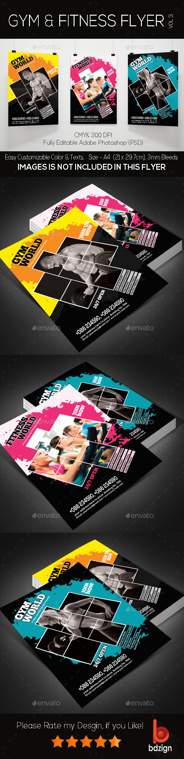 Gym and Fitness Flyer -Vol3 - Corporate Brochures